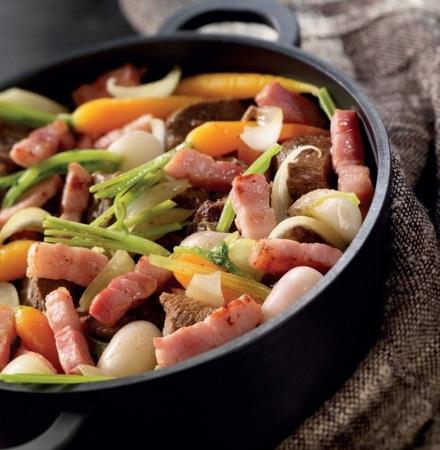 Говядина, запеченная с овощами и беконом