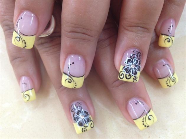 Дизайн ногтей желтый френч