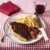 Стейки на мангале с маслом из красного вина и жареной картошкой