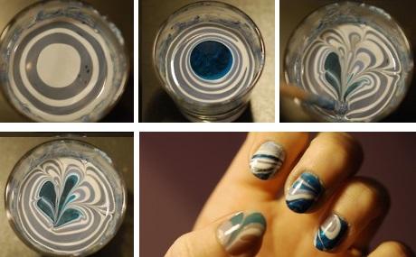 дизайн ногтей лаками и водой: