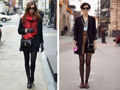 черное пальто и шарфы