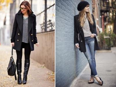 что надеть с черным пальто