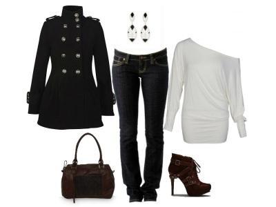 черное пальто в гардеробе