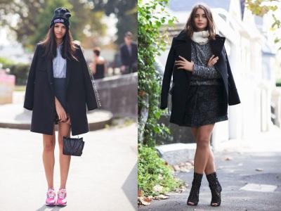 с чем надевать черное пальто