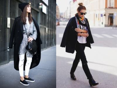 с чем сочетать черное пальто
