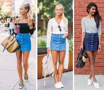 короткая джинсовая юбка в гардеробе