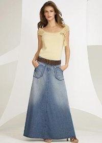 с чем носить джинсовую юбку в пол