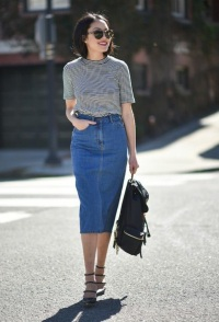 с чем носить длинную джинсовую юбку