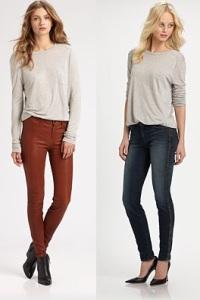 женские кожаные джинсы