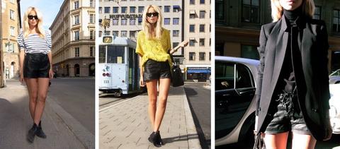 модная кожа с чем носить кожаные шорты