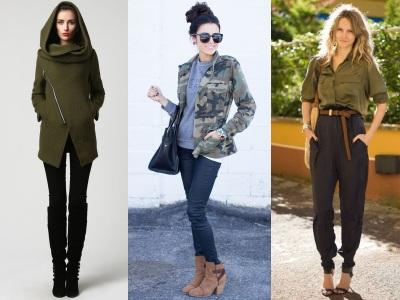 Ropa de mujer de estilo militar, moda en calle, moda y estilo