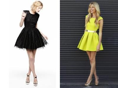 Vestido corto, falda mullida, ropa de mujer, moda en calle, moda y estilo,