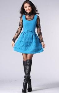 Ярко Синее Шерстяное Короткое Платье 69