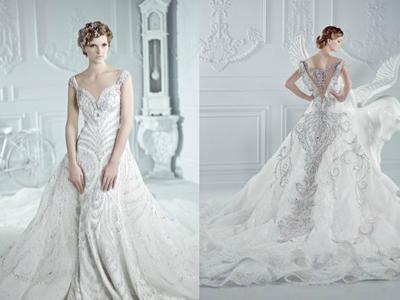 свадебное платье парча