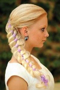 плетение кос с лентой схемы