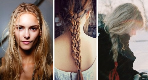 Косички с распущенными волосами сбоку