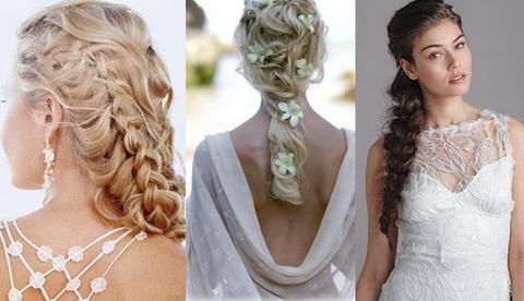 Коса на длинные волосы на свадьбу