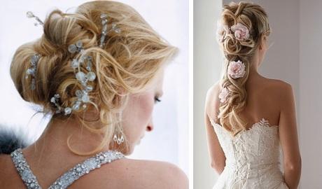 Свадебные прически с цветами косы