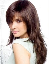 Прическа каскад с челкой на длинные волосы фото