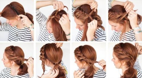 Летняя прическа на средние волосы