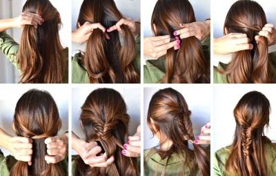 Причёски на длинные волосы на каждый день с челкой